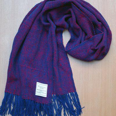 手つむぎ・手織りのストール Standard(露草色+猩々緋