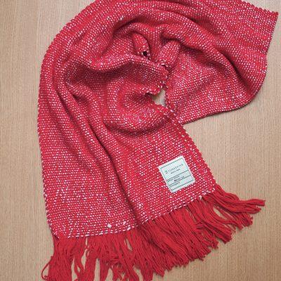 手つむぎ・手織りのストール Standard(猩々緋+生成)