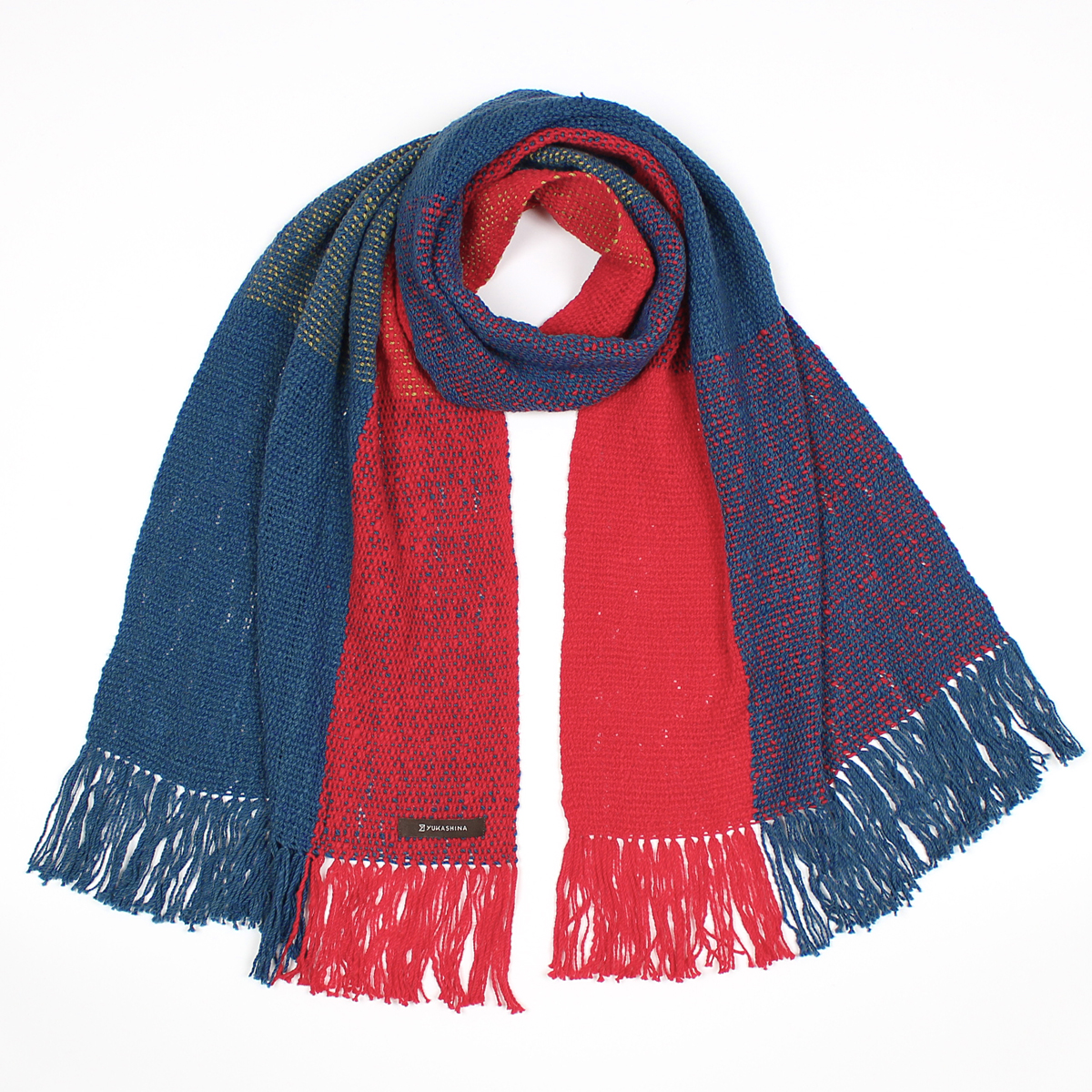 手紡ぎ 手織り ストール|Check 3B(藍色+猩々緋+若草色)
