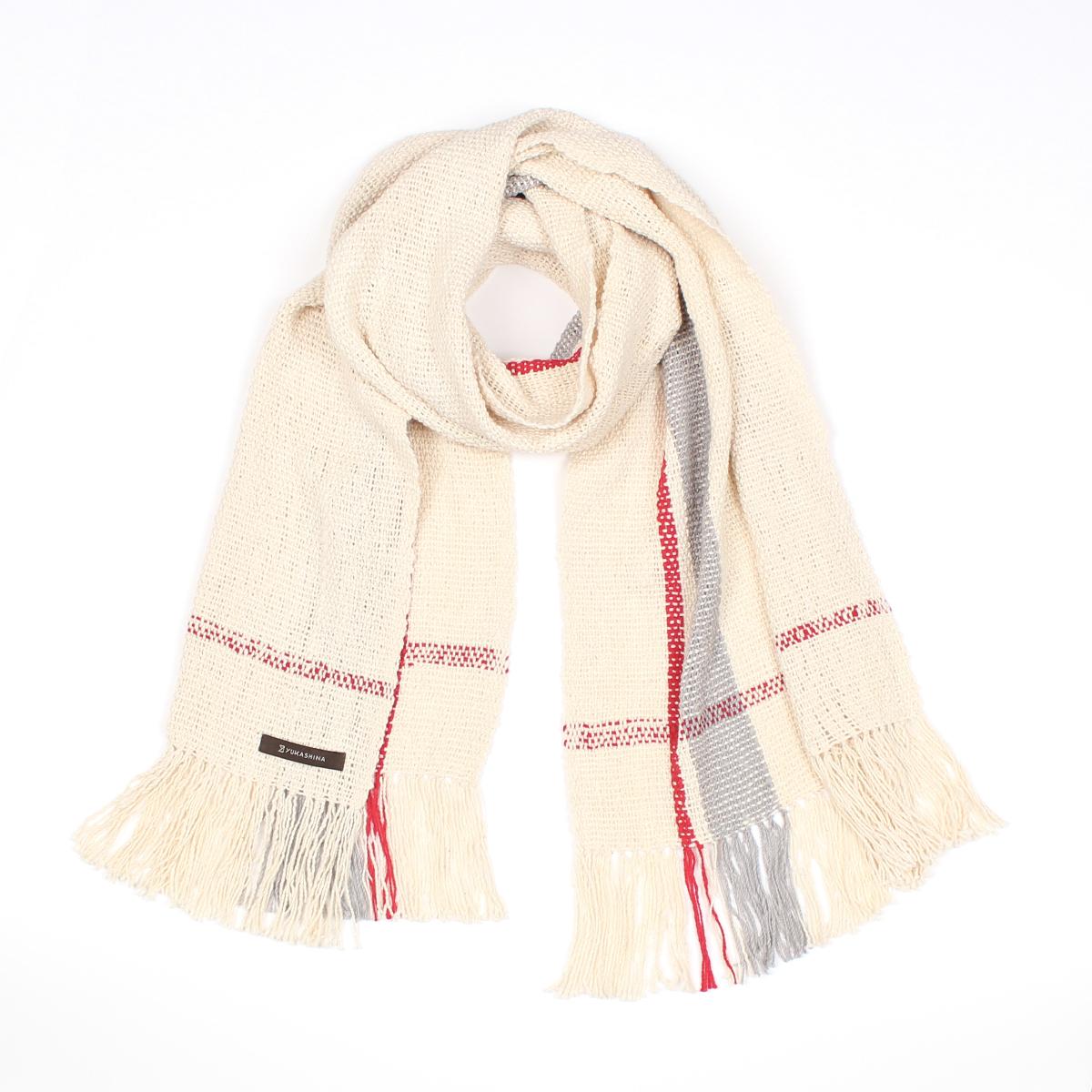 手紡ぎ 手織り ストール Stripe(生成+銀鼠+猩々緋)