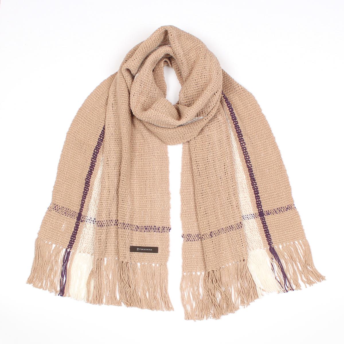 手紡ぎ 手織り ストール Stripe(白茶+生成+猩々緋)
