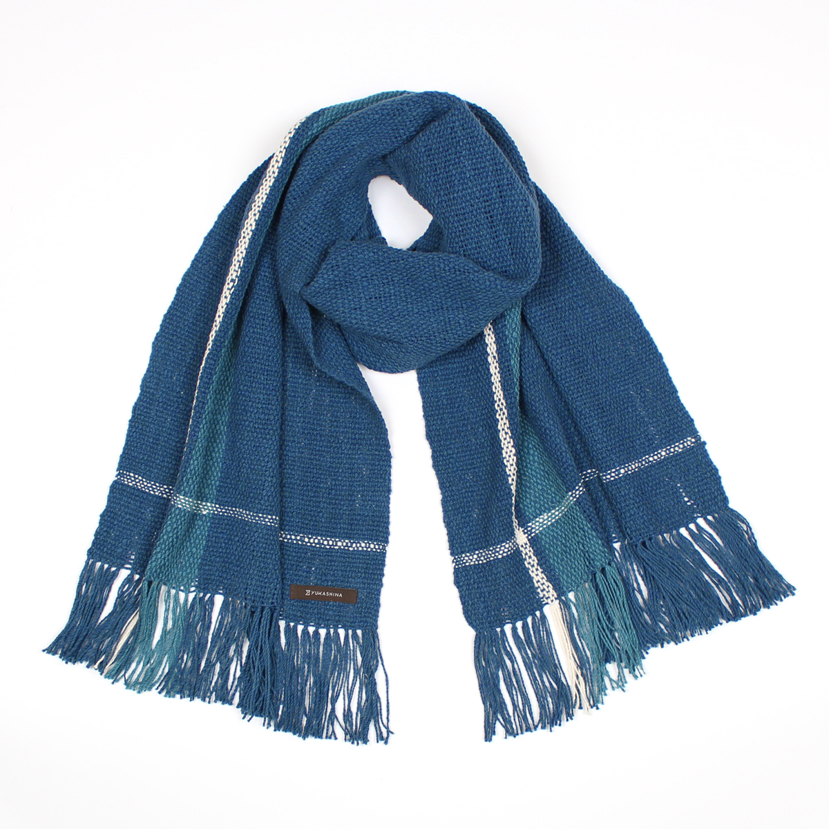 手紡ぎ 手織り ストール Stripe(藍色+縹色+生成)