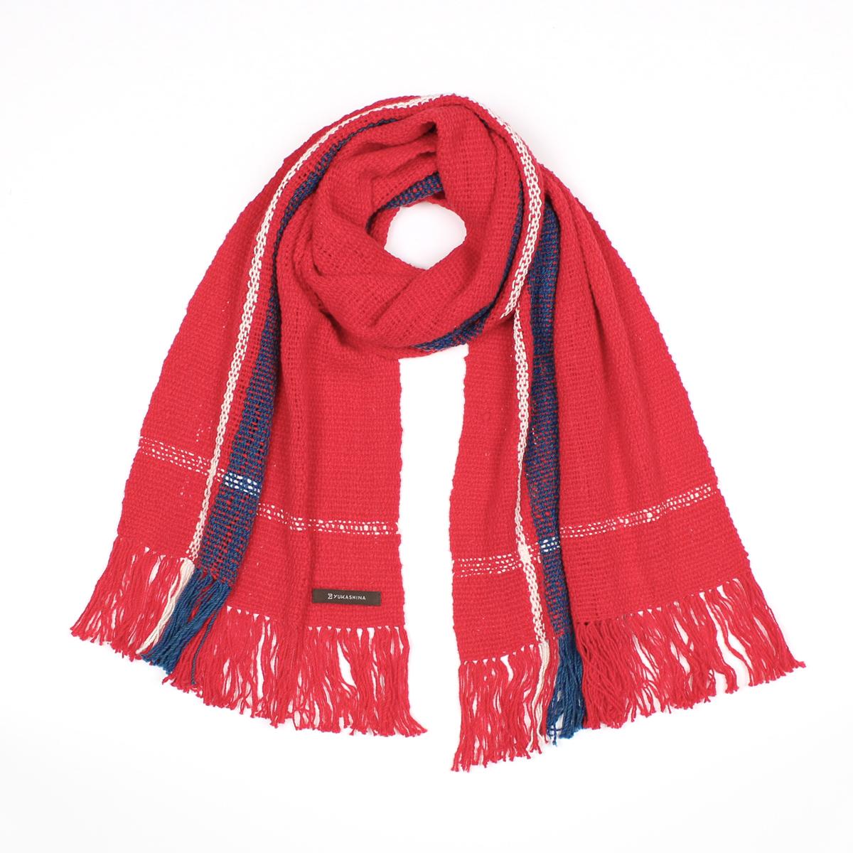 手紡ぎ 手織り ストール Stripe(猩々緋+藍色+生成)