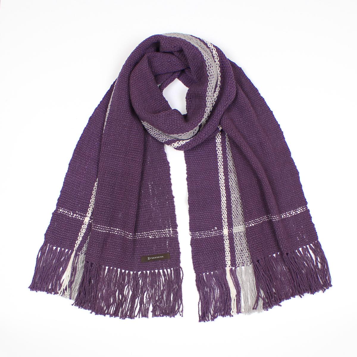 手紡ぎ 手織り ストール Stripe(菖蒲色+銀鼠+生成)