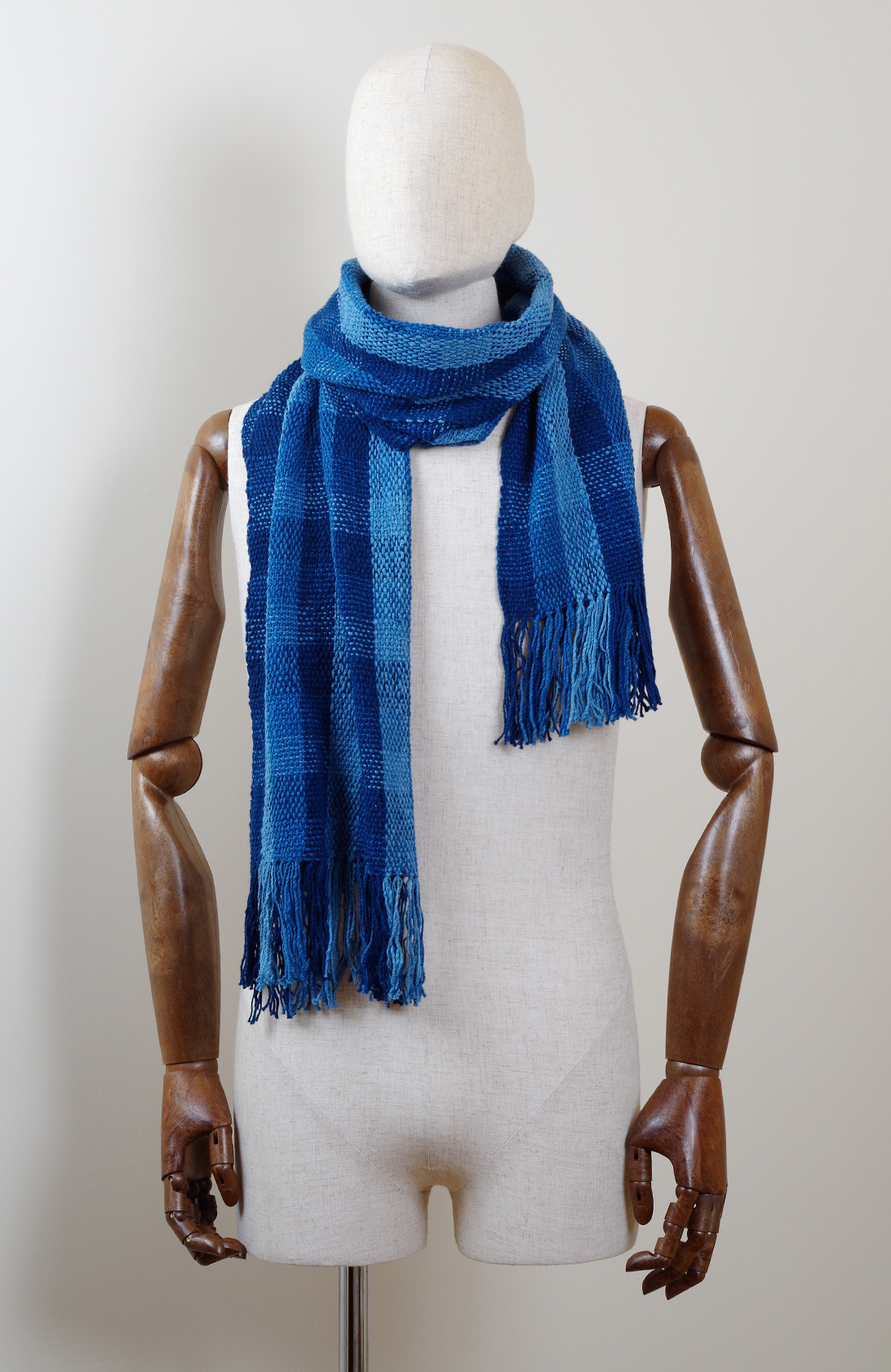 手紡ぎ 手織り ストール・マフラー 草木染め(藍)