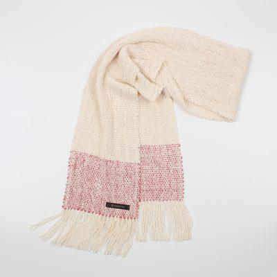 手紡ぎ 手織り ストール|Border(生成+韓紅+韓紅)