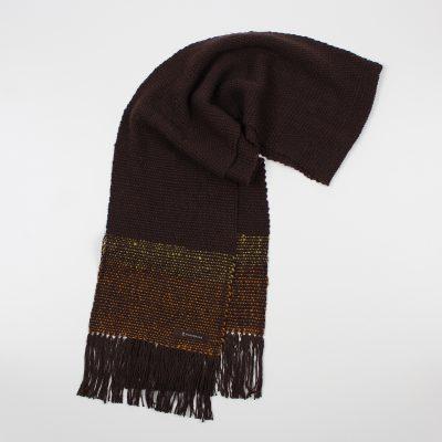 手紡ぎ 手織り ストール|Border(錆色+小麦色+若草色)