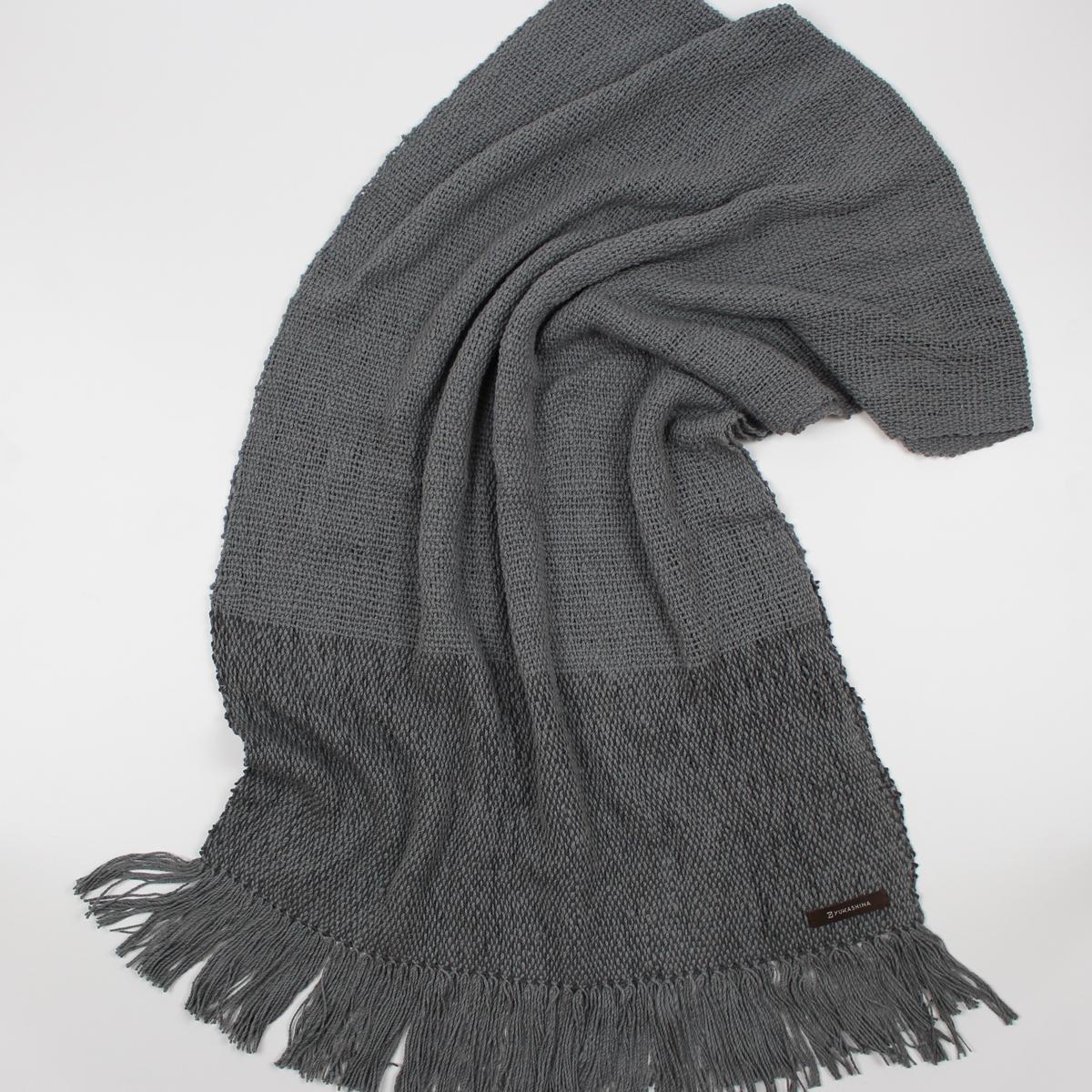 手紡ぎ 手織り ストール|Border(青鈍+消炭色+消炭色)
