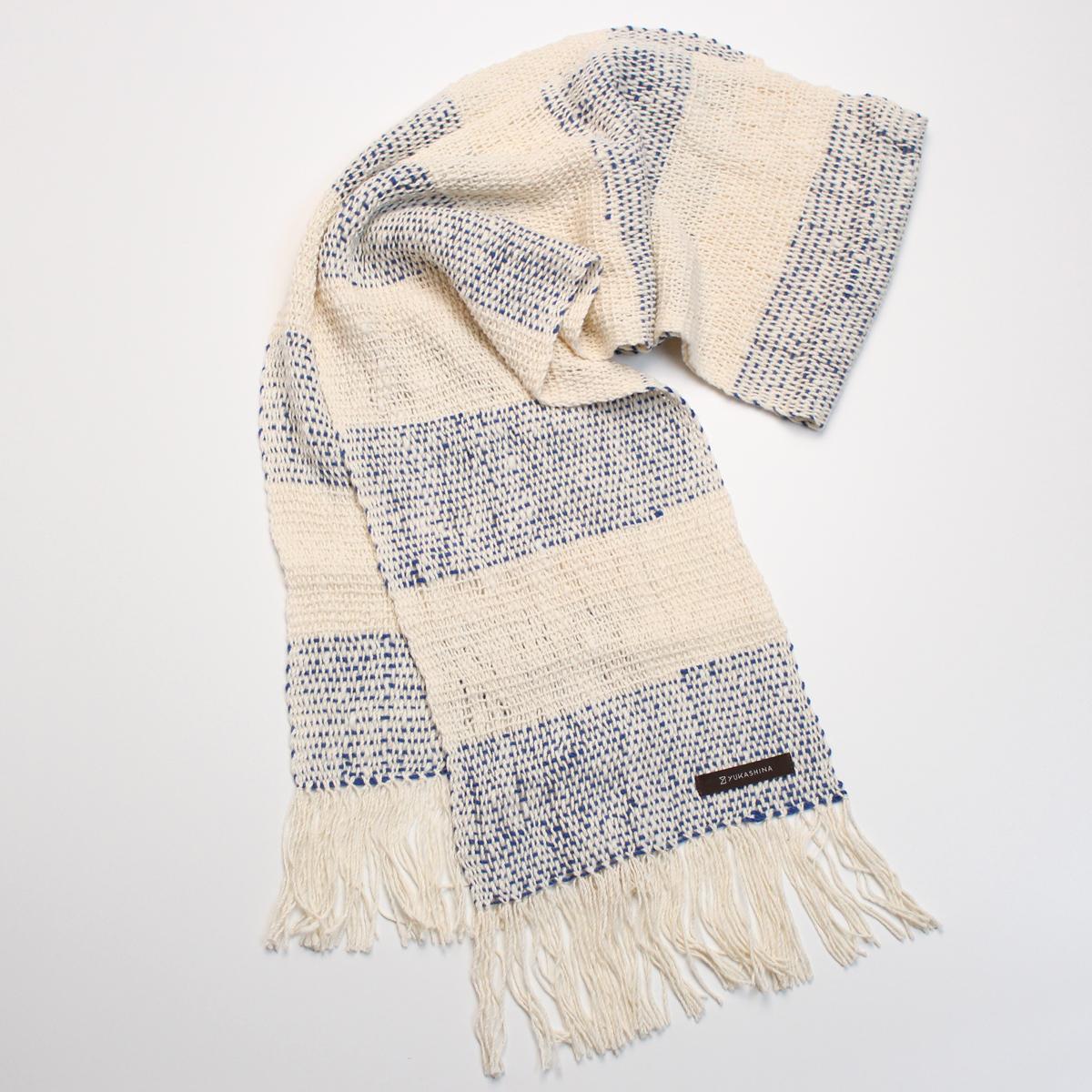 手織りパターン「Borderのストール(生成+一斤染+抹茶色)」