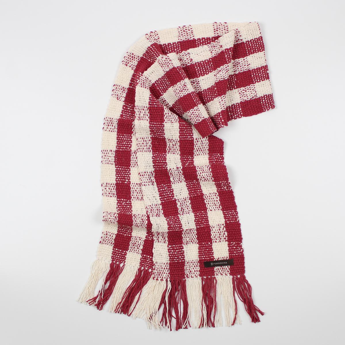 手紡ぎ 手織り ストール Check 2(生成+紅)
