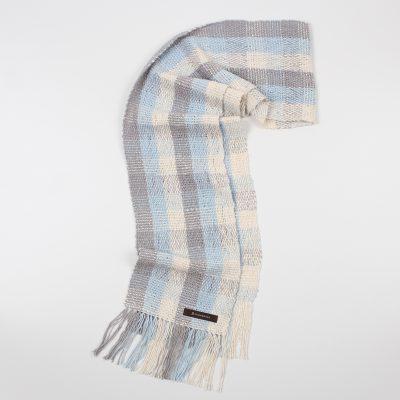 手紡ぎ 手織り ストール|Check 3(生成+白藍+銀鼠)