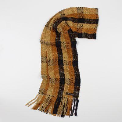 手紡ぎ 手織り ストール|Check 3(金銀花+小麦色+漆黒)