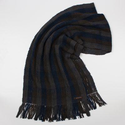 手紡ぎ 手織り ストール|Check 3(消炭色+黒橡+紺青)
