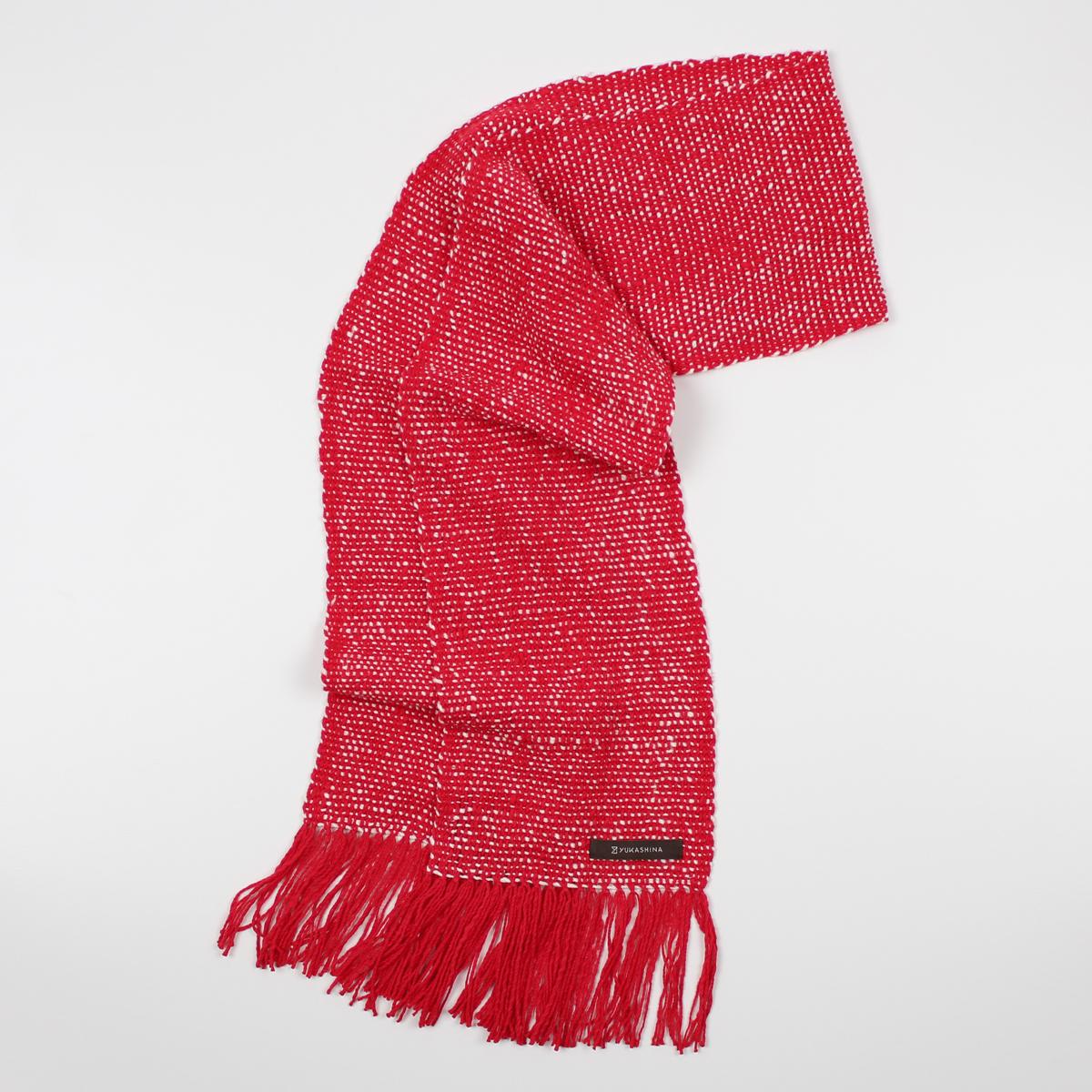 手紡ぎ 手織り ストール|Standard(猩々緋+生成)