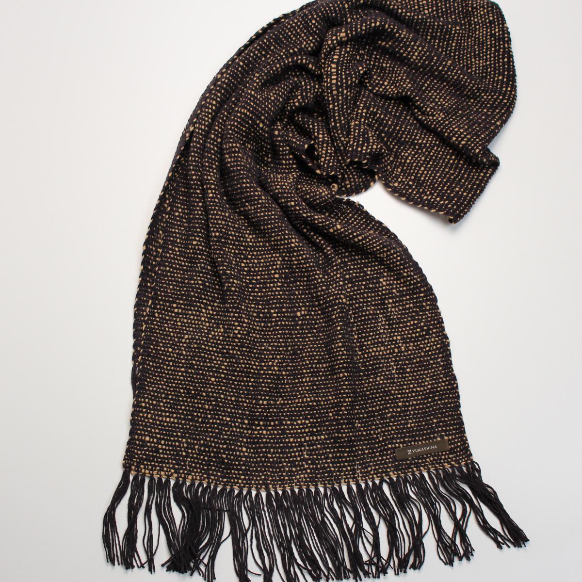 手織りパターン「Standardのストール(漆黒+生成)」